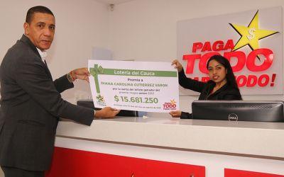 Lotería del Cauca entrega millonaria bonificación a asesora de Paga Todo